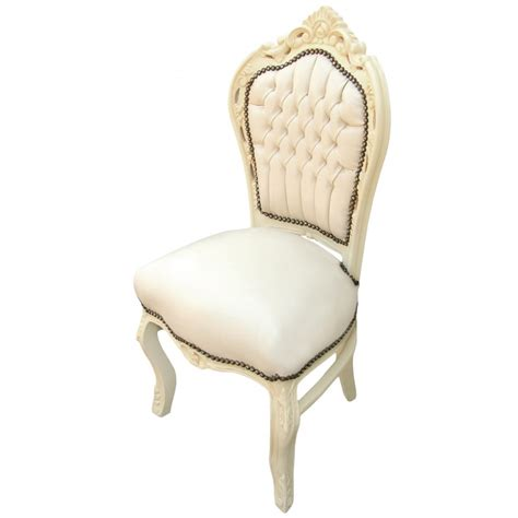 chaise style baroque chaise de style baroque rococo tissu simili cuir beige et
