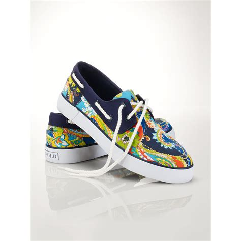 polo lander boat shoes lyst polo ralph lauren paisley lander boat shoe in blue