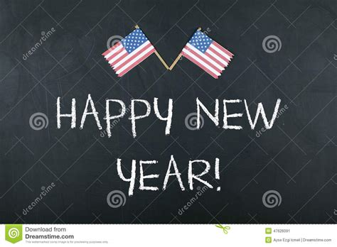 happy new year concept with american flag stock photo