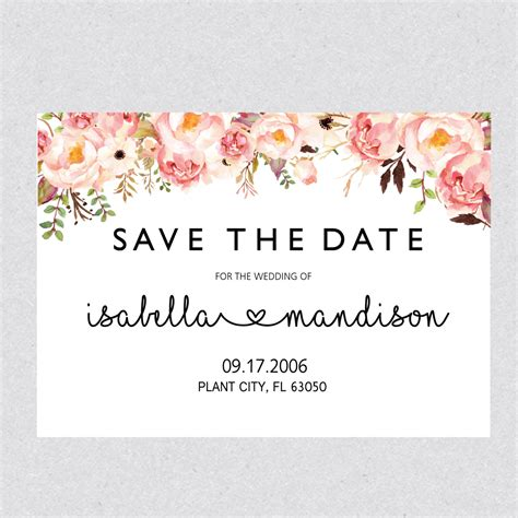 save the date cards template printable save the date template card floral save the date