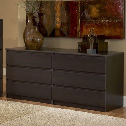 long dressers bedroom modern danish 6 drawer long dresser brown espresso