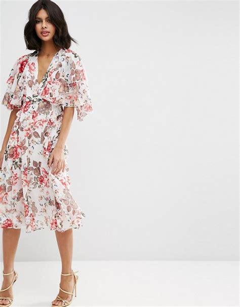 Promo Midi Dress Flower Vintage Product asos asos ruffle cape soft midi dress in vintage floral