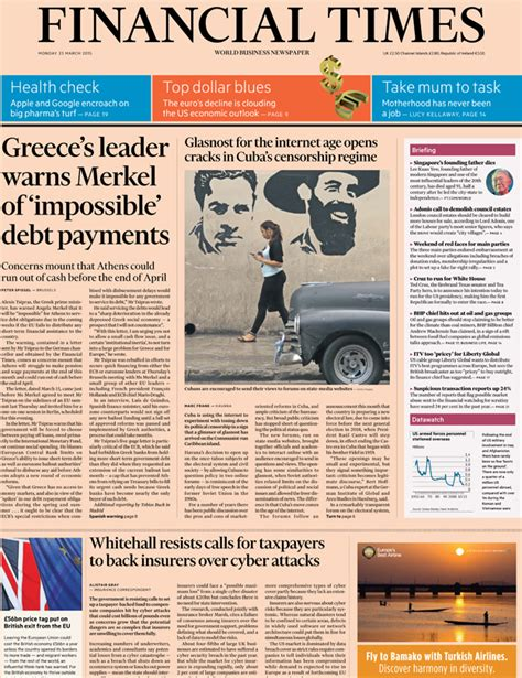 Financial Times Letter Tsipras Newspaper Headlines Alex Salmond To Hold Labour To Ransom News