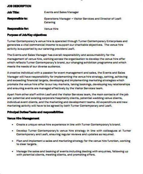 events manager description template 9 sales and marketing description sles sle