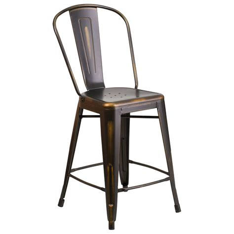 Metal Frame Counter Stools by Distressed Copper Metal Counter Height Stool With Vertical