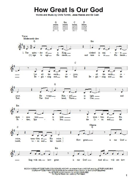 Printable Lyrics How Great Is Our God | how great is our god sheet music direct
