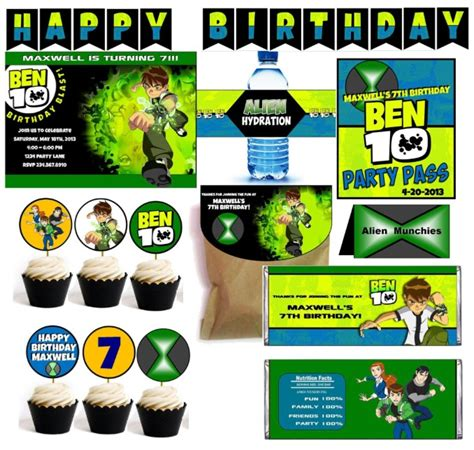 Ben 10 Printable Party Decorations | ben 10 party games printable supplies