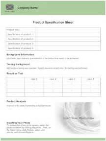 spec sheet template 5 best images of exle of product specification