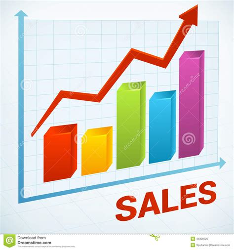 sales chart down clipart positive business sales chart stock vector illustration