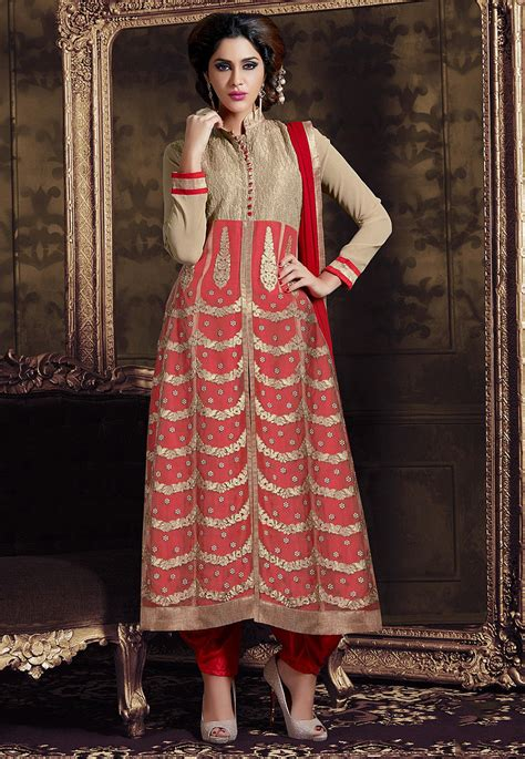 front slit a line kurti salwar kameez marking cutting embroidered a line front slit georgette suit in red kga122