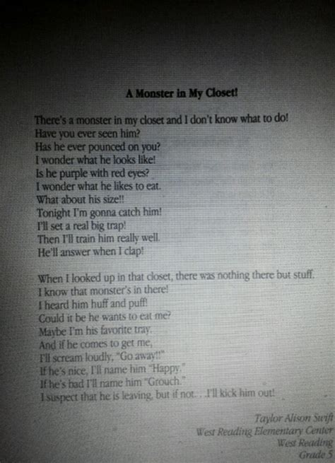 Poem In Closet by Won A Poetry Contest In 4th Grade With A Poem