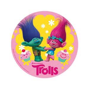 disque azyme les trolls 2 trolls bleu et rose cake design
