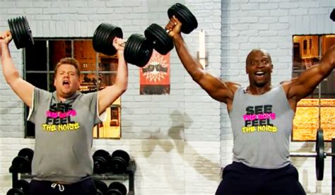 terry crews bench watch terry crews and james corden hilariously show people