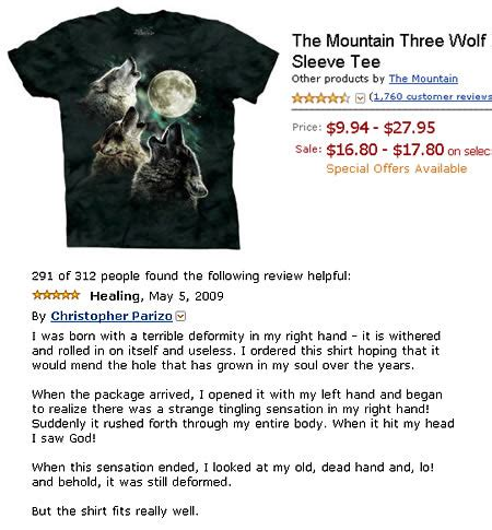 Three Wolf Shirt Meme - 10 hilarious reviews funny reviews