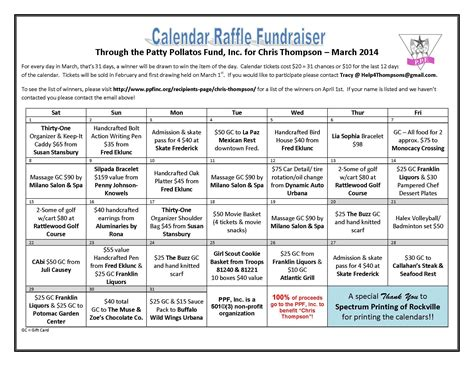 Thompson Raffle Fundraiser Calendar Final Pta Pinterest Fundraising Advent House And Nonprofit Fundraising Calendar Template