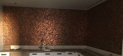 Kitchen Countertop Backsplash by Pictures Of Pennies Installed As Mosaic Tile Sheets On