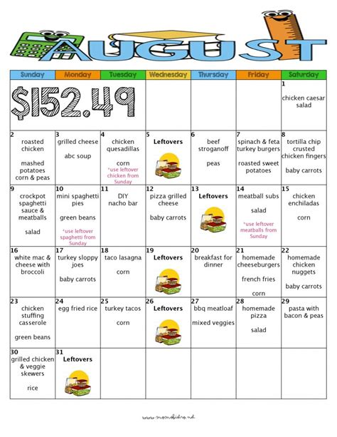 printable budget recipes a month of delicious kid friendly dinners for 152 with