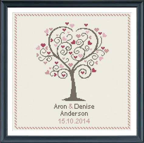 download pattern wedding wedding cross stitch pattern love tree customizable