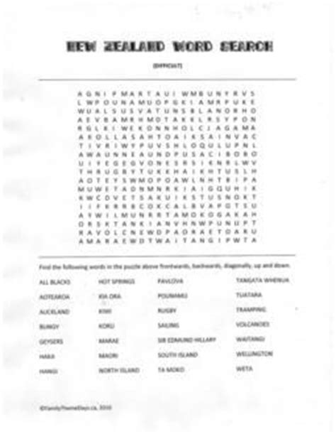 New Zealand Search Free New Zealand Difficult New Zealand Word Search Free