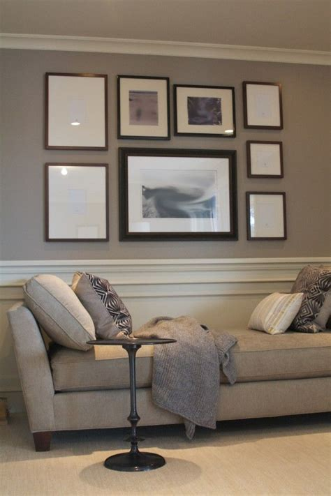 chair rail crown molding and 2 colors wall paint warms up large walls in family room