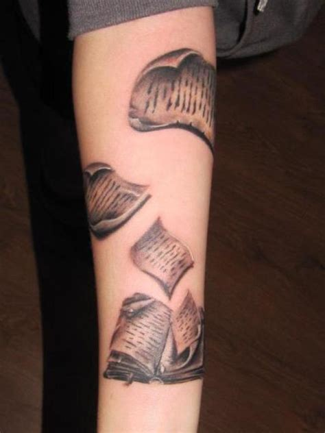 tattoo ideas book book tattoo with loose pages to tie my upper arm tattoo
