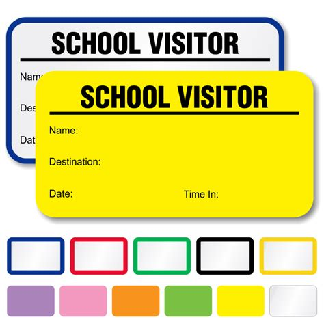 visitor badge template school visitor labels