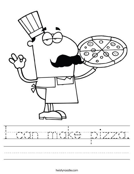 pizza coloring pages preschool i can make pizza worksheet twisty noodle