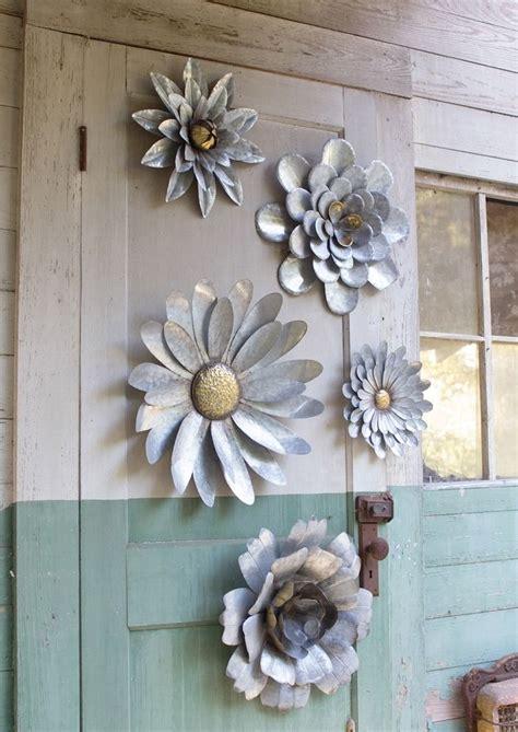 5 Galvanized Metal Flower Wall Art Sculptures Indoor Metal Garden Wall Outdoor