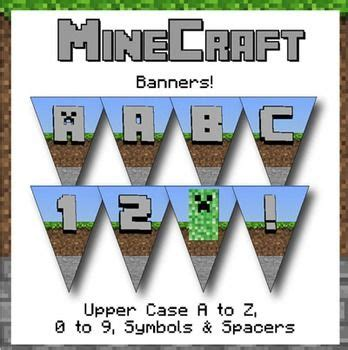 free printable minecraft alphabet letters minecraft themed banners letters numbers symbols