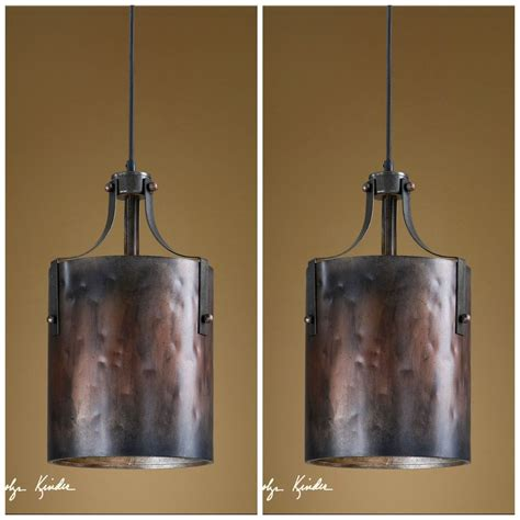 Lighting Fixtures For Kitchen Island Two 16 Quot Copper Finish Hanging Pendant Lights Rustic