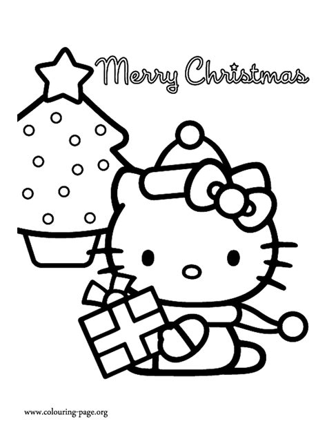 hello kitty christmas tree coloring page christmas hello kitty and a christmas tree coloring page