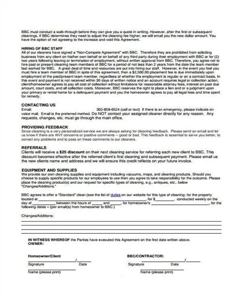 clean agreement template cleaning quotation sle free cleaning forms