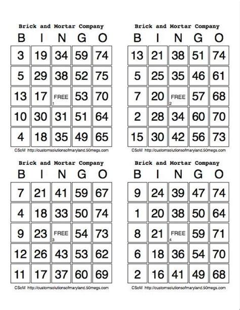 printable numbers bingo my bingo cards
