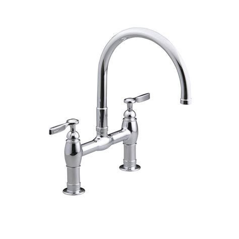 bridge kitchen faucets kohler parq deck mount 12 in 2 handle mid arc bridge kitchen faucet in polished chrome k 6130 4