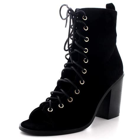 Sepatu Kickers Chuky Black Suede Casual Formal Sneakers Promo Grosir womens lace up mid block heel peep toe cut out gladiator black ankle boot uk 3 9 ebay