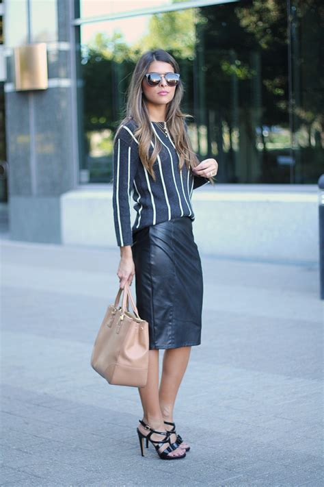 sweater and leather pencil skirt