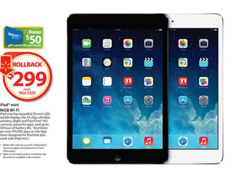 Walmart Ipad Gift Card - walmart ipad mini for 299 with a 50 gift card debt free spending