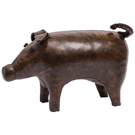 Vintage Leather Pig Ottoman By Abercrombie And Fitch For