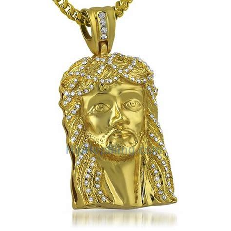 Bling Bling Jesus Pendant by Bling Bling Gold Jesus Pendant Gold Premium Hip