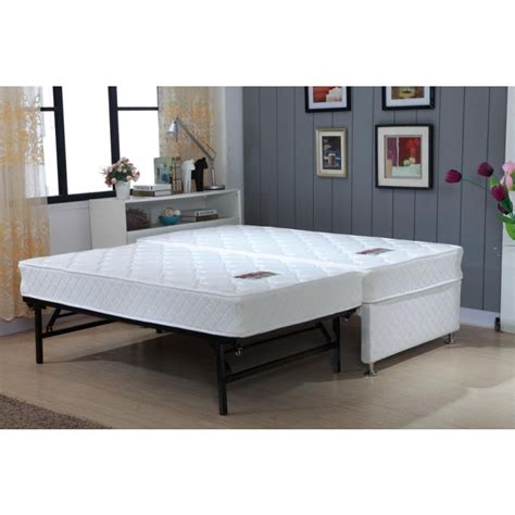 King Single White Bed Frame W Trundle 2 Mattresses Buy Trundle Beds
