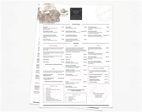 design menu a3 the moody cow on behance