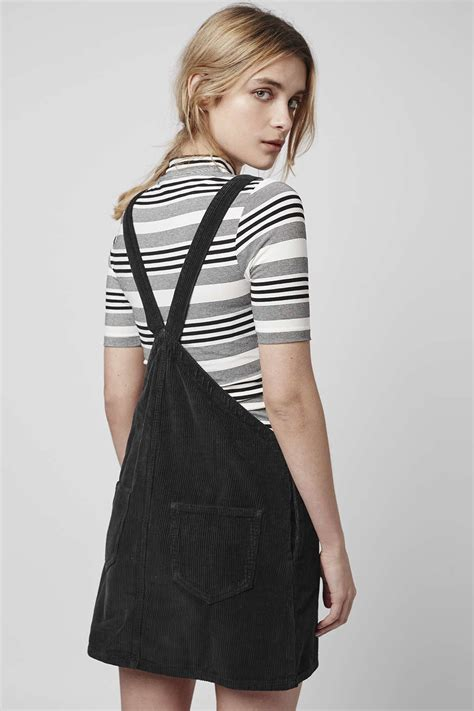 Topshop Pinafore Dress by Topshop Cord Pinafore Dress In Black Lyst