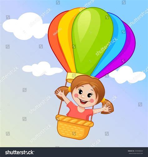 Cute little girl flying hot air stock vector 293968604 shutterstock