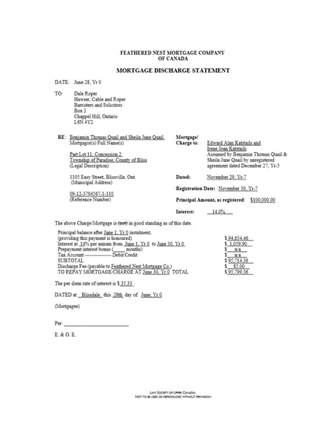 Mortgage Discharge Letter Canada Sle Documents Tekamar Mortgages