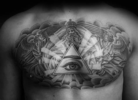 eye tattoo on chest meaning 50 cloud chest tattoos for men blue sky ink design ideas