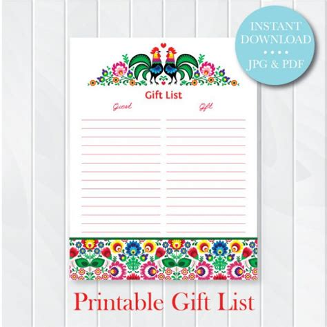 wedding shower gift list template bridal shower gift list template 28 images