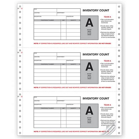 Physical Inventory Count Forms Continuous Coupon Standard Inventory Count Tags Template