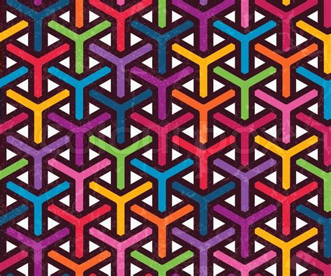 Funky Wallpaper Home Decor by Colorful Geometric Pattern Seamless Abstract Background