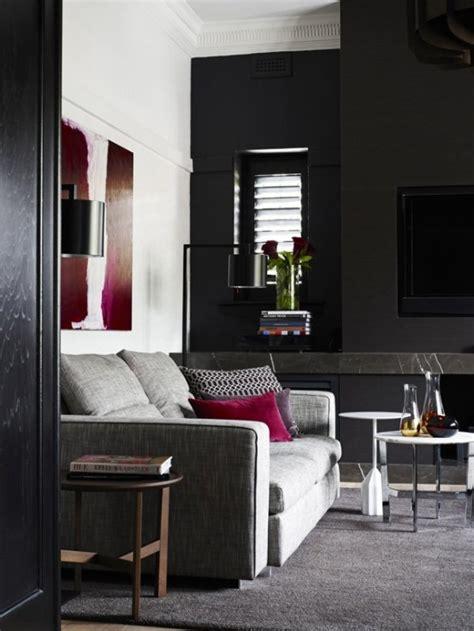 contemporary black interior design  vibrant accents