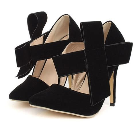 Bow High Heel Pumps black suede pointed toe big bow high heel pumps